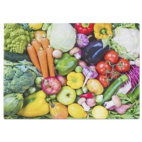 Assorted Vegetables Tempered Glass Chopping Board
